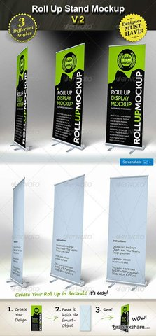 GraphicRiver Roll Up Stand Mockup - Smart Template Display