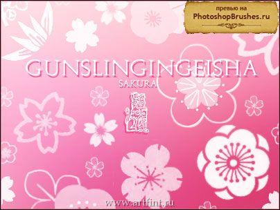 кисти для фотошопа лепестки сакуры: